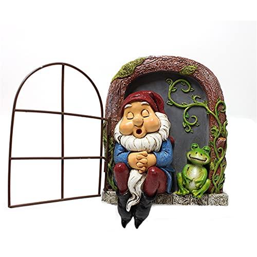 Zylina Decorazione da finestra in resina per dormire, decorazione a forma di rana che dorme, montaggio a parete, in resina, per il paesaggio creativo