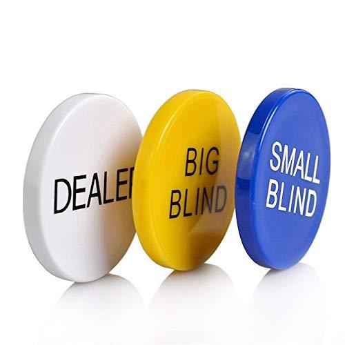 3PCS/SET Round Casino Dealer Buttons Texas Poker Chip Sets SMALL BLIND/BIG BLIND/DEALER Plastic Coins Buttons (Color : 3PCS) ANGANG (Color : 3pcs)