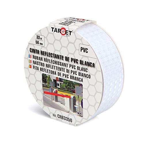 Cinta Reflectante - TARGET - Blanca 33m x 50 mm - Cinta adhesiva - Advertencia - Señalización - Marcaje - Alta visibilidad - CRB3350