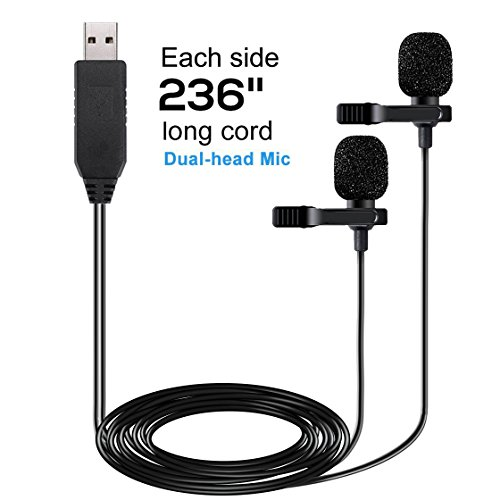 USB Microphone 236' (6m) Dual Head Lavalier Lapel Mic Professional Clip-on Shirt Omnidirectional Condenser Microphones for Computer PC,Laptop,Recording Youtube,Interview,Video Conference,Podcast