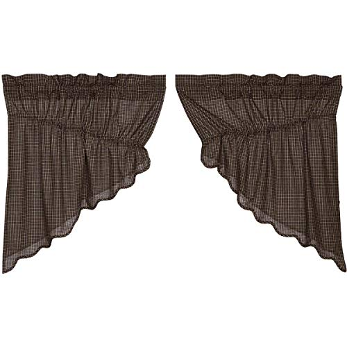 VHC Brands Kettle Grove Plaid Prairie Swag Scalloped Set of 2 36x36x18 Country Curtains, Country Black