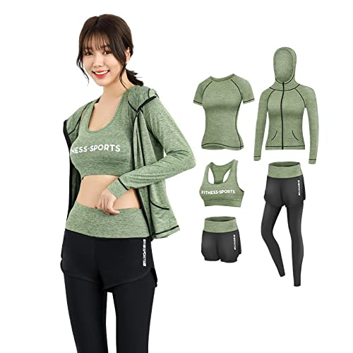 TANQIAN Spring and Autumn Yoga Clothes Suits Running Quick-Drying Clothes Sports Fitness Suits XXL Blackgray