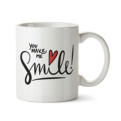 Partycards Tassen als Geschenkidee mit verschiedenen Motiven - Kaffebecher (You Make me Smile, 300ml)