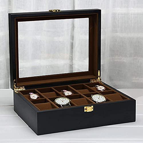 ZHENAO Caja de reloj con 10 ranuras para joyas, organizador de reloj de madera negra con pantalla de cristal, caja de reloj para hombres y mujeres