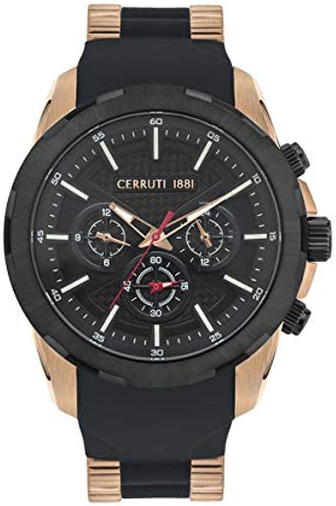 Cerruti 1881,orologio,cronografo per uomo,in acciaio inossidabile e cinturino in silicone CRA27801