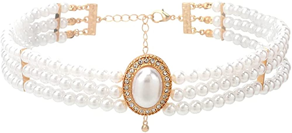 JKJF Multi Row Pearl Necklace Simulated Pearl Chokers 20s Flapper Necklace Sparkly Rhinestone Pearls Choker for Wedding Party Prom Jewelry Accessories