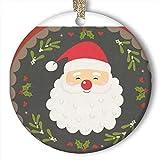 EaYanery Adorno de Navidad con diseño de Papá Noel y copos de nieve, redondo, de cerámica personalizada, ideal para Navidad 2019