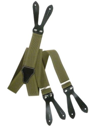 Hosenträger mit Knopfloch und Echt Lederriemen - 3.5cm. Olivgrün