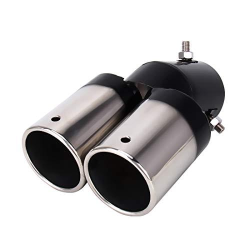 Tubo De Escape del Automóvil Universal Car Styling acero inoxidable recta salidas dobles de escape de cola extremidad del silenciador de tubo, adecuados for la mayoría de los coches (Color : Negro)