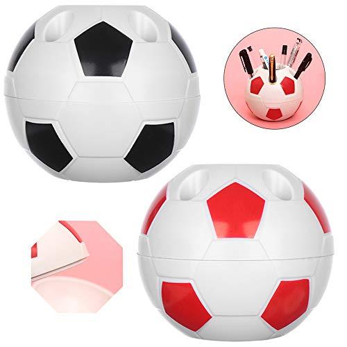 Ziyero Porta Bolígrafo de Fútbol Creativo Multifuncional Soporte Bolígrafo Fútbol Diseño Poroso, No Deforma Fácilmente, Fácil de Limpiar, para Oficina, Escuela, Hogar Etc-2 Pieza (Negro、Rojo)