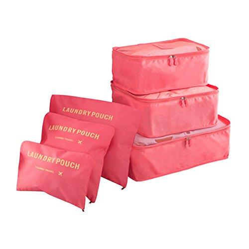 COOJA Set de 6 Travel Organizers 3 Packing Cubes + 3 Bolsas, Impermeable Organizador de Viaje para Maletas Bolsa Equipaje para Ropa Sucia Zapatos Maquillaje (Melon Rojo)