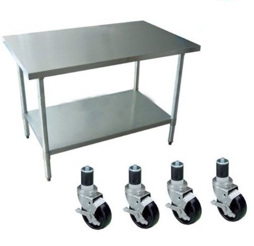 """24"""" X 24"""" AmGood Stainless Steel Work Table with Wheels 