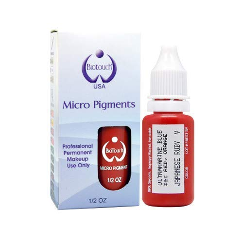 BIOTOUCH Micropigment JAPANESE RUBY Pigment Color Permanent Makeup Microblading Supplies Eyebrow Shading Micropigmentation Cosmetic Tattoo Ink Lip Eyeliner Feathering Hair Stroke LARGE Bottle 15ml