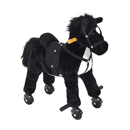 Qaba Kids Interactive Plush Mechanical Walking Ride On Horse Toy with Wheels, Black