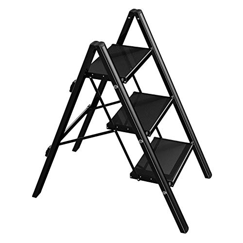 GJSN Chair,Step Stool Portable 3 Step Stool Multi-Function Household Folding Ladder Aluminum Flower Stand Storage Horse Stool for Kitchen, Shop,Office,Bathroom,Black