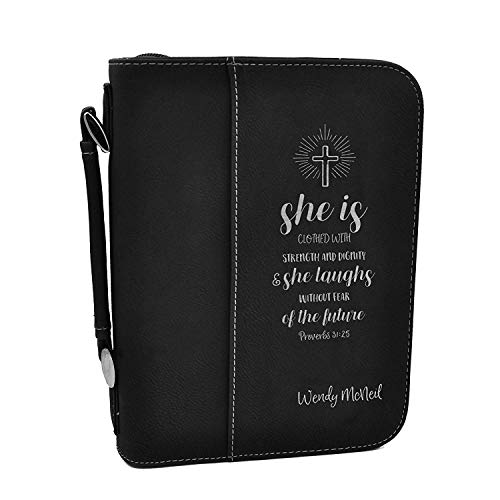 Custom Bible Cover - Proverbs 31:25 - Black Bible Case with Silver Engraving
