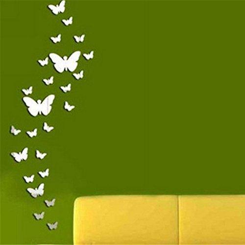 Omeny, decorazione specchiante da parete, a forma di farfalla, 25 pezzi