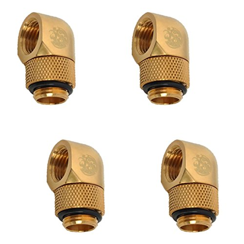 "Bitspower G1/4"" Male to Female Extender Fitting, 90° Rotary, True Brass, 4-Pack"