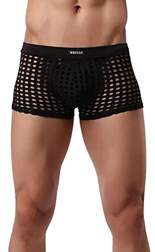 Linemoon Sexy Herren-Unterwäsche, Boxershorts für Sex, Netzstoff, durchsichtig. - Schwarz - XX-Large
