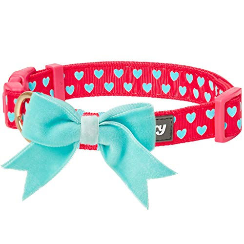Blueberry Pet 4 Patterns Adjustable Flocking Dog Collar with Detachable Velvety Bowtie - Heart in Lust Red, Medium, Neck 14.5