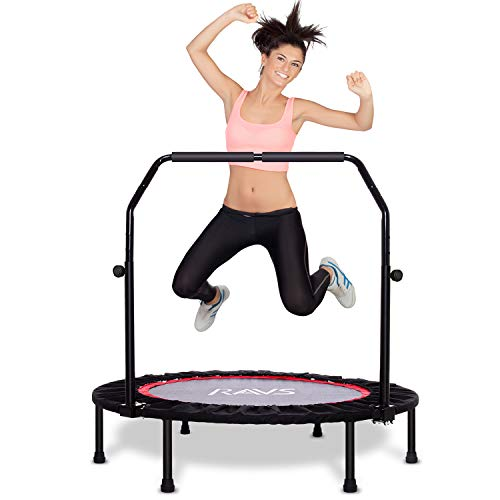 Ravs Mini Trampoline for Kids Adults, 40' Foldable Fitness Rebounder Kids Trampoline with 5 Levels Height Adjustable Handle, Exercise Trampoline Indoor Workout Max Load 350lbs