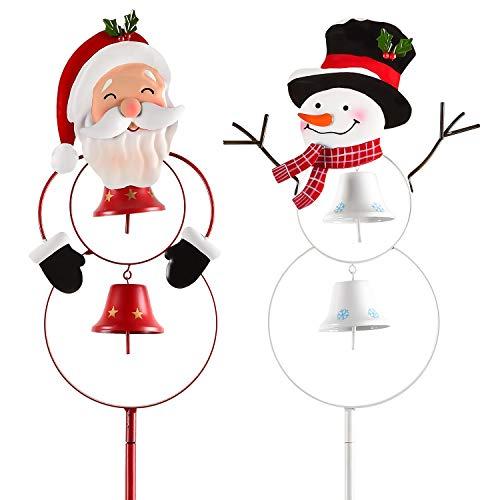 YQing 2 Piezas Decoración para Navidad, Papa Noel Navidad Exterior Decoración para Césped Navideño Signos de Estaca Yard Sign Muñeco de Nieve con campana, Poste indicador,Jardín Decoraciones