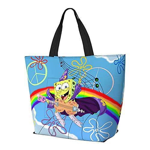 Rainbow Peace and Rock Bob Esponja Bolso de mano con asa de hombro estilo simplicidad gran capacidad bolsa de compras gimnasio playa viajes diario Unisex plegable