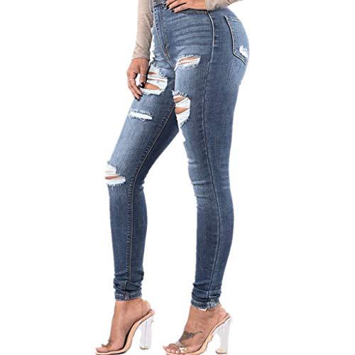 LOPILY Hose Damen Skinny High Waist Jeans Hosen mit Zerrissen Farben Waschung Denim Stretchhosen Damen Elastische Röhrenhosen Dehbare Hüfthosen Damen Jeans mit Löchern Shaping Leggings (Blau, M)
