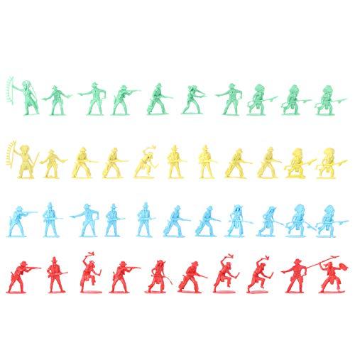 jojofuny 40Pcs Wild West Cowboys Indians Figuras de Plástico Playset Juguetes Educativos de Cubo Soldados de Acción Nativos Figuras Juego de Guerra Juguetes para Casa de Muñecas en