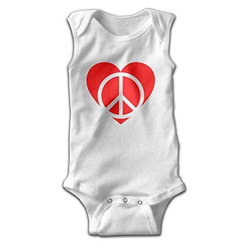Peace and Love Heart Baby Boys Sleeveless Triangle Romper Bodysuit White