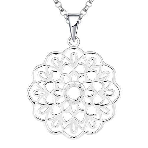 JO WISDOM Mandala Necklace,925 Sterling Silver Flower of Life Yoga Pendant Necklace with White Gold Plated Jewelry for Women