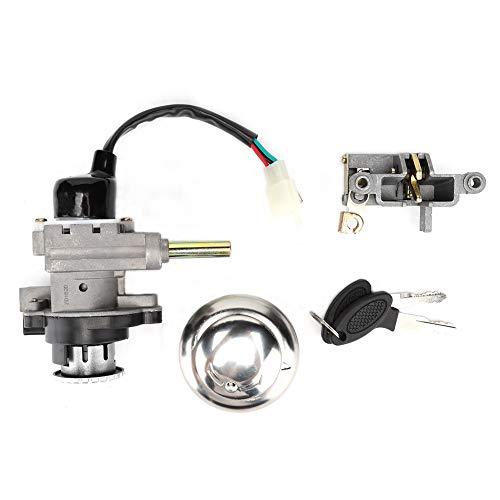 Juego de interruptor de encendido: interruptor de encendido de aluminio para motocicleta, juego de interruptor de llave de bloqueo de tapa de gas