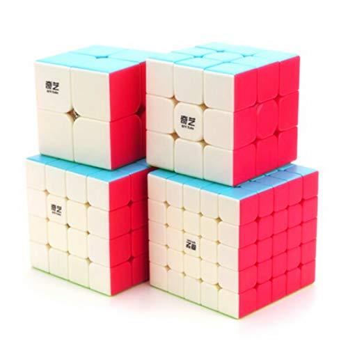 CuberSpeed Speedcubing Bundle Qiyi Qidi S 2X2 & Qiyi Warrior W 3x3 & Qiyi Qiyuan S 4X4 & qizheng s 5X5 Stickerless Bright Magic Cube Stickerless Speed Cube Set with QiYi Secret Tutorial Book