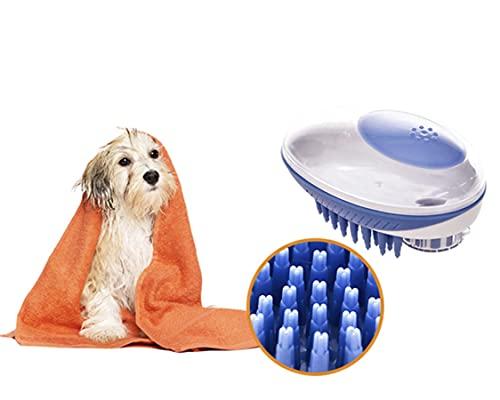 Spazzola Lavaggio Cane Multiuso Clicca Spruzza e Lava Shampoo e Acqua per Bagno e Toelettatura - Erogatore Animali Domestici e Cardatore Bagnetto per Cani, Gatti, Criceto e Altri Animali (Blu)