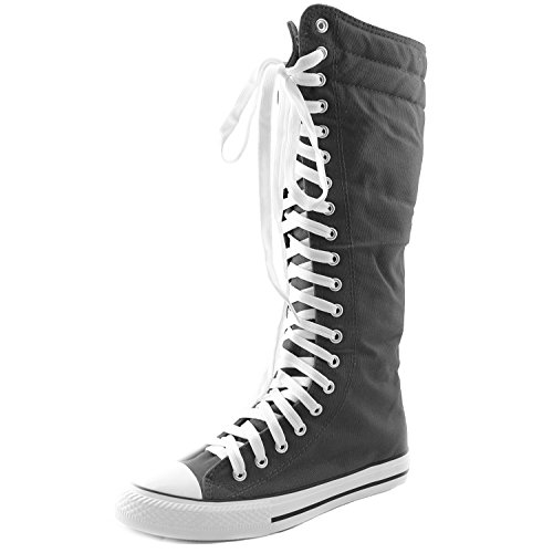DailyShoes Women's Sneaker Boots Bootie Knee High Mid Calf Tube Fashion Sneakerss Lace Up Cowboy Lace-up Super Top Athletic Shoes for Women Punk-hi Grey 12
