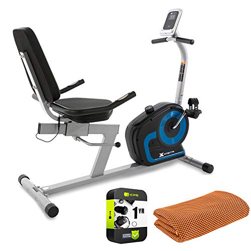 XTERRA Fitness 120319 SB120 Seated Recumbent Exercise Bike Bundle with Deco Gear Workout Cooling Sport Towel Breathable and Moisture Wicking and 1 Year Extended Protection Plan