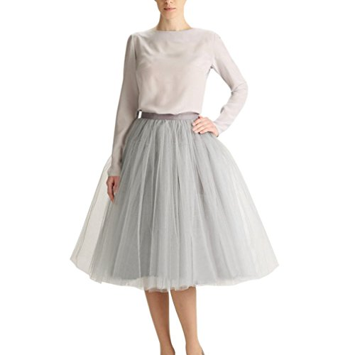 CoutureBridal® Falda ala rodilla de 5 capas Cintura elástica Tutu Princess Tulle gris EU56-58