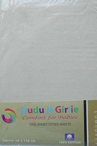 DuDu N Girlie hoeslaken voor babybed, katoen-jersey, crèmekleurig, 2 stuks