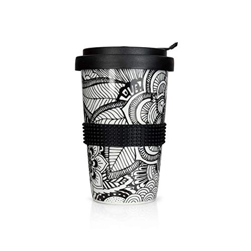 Mahlwerck Kaffeebecher to go, Porzellan Kaffee to go Becher mit auslaufsicherem Deckel, Mandala Motiv in Schwarz-Weiß, 350ml