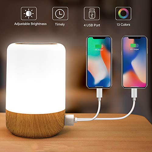 Table Lamp Touch Night Light - 4 Quickly Charge USB Port Bedside Lamps with Dimming Warm White Light 13 Colors RGB Table Lamp for Bedroom Living Room Office Hallways (Wood)