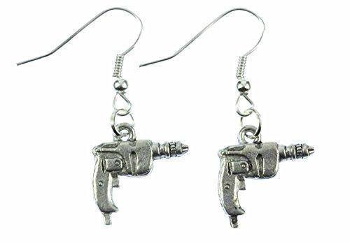Miniblings Bohrmaschine Ohrringe Hänger Akkuschrauber Werkzeug Bohrer Mini - Handmade Modeschmuck I Ohrhänger Ohrschmuck versilbert