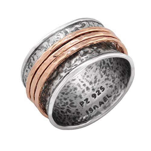 PZ Paz Creations 925 Sterling Silver Gold Over Silver Spinner Ring | Three Spinners Hammered Design | Hypoallergenic Made in Israel (Rose Gold, 8)