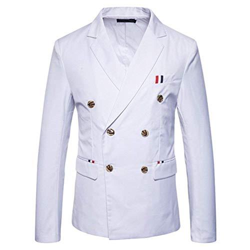 Lanceyy Herren Doppelreiher Sakko Blazer Smoking Smart Anzug Jacke Einfacher Stil Slim Fit Mantel Hochzeit Elegant Outerwear Anzugjacken Herbst (Color : Weiß, Size : 2XL)