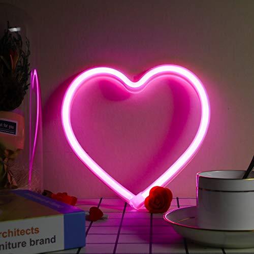 Herz-Neonschild, batteriebetrieben oder USB-betrieben, LED-Neonlicht für Party, Heimdekoration, Tisch- und Wanddekoration, Valentinstagsgeschenk und Kindergeschenk