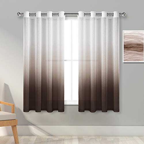 Hiasan Ombre Sheer Curtains - Faux Linen Voile Grommet Gradient Window Curtains for Bedroom and Living Room, 52 x 54 Inch Length, Brown, 2 Drape Panels