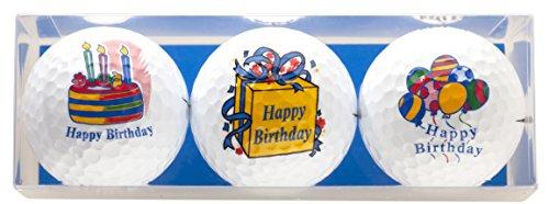 """Zum Geburtstag - Golf-Geschenkset """" HAPPY BIRTHDAY """" bestehend aus 3 bedruckten Golfbällen - ein tolles Geschenk / Geburtstagssgeschenkfür jeden Golfer"""