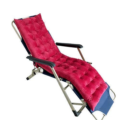 DFBGL Cojín reclinable de jardín con Lazos, cojín para Silla Mecedora Cojín para Silla de salón Cojín para Tumbona Cojín para Patio Sillón de ratán Asiento para Silla Cojines-Rojo-b 125x