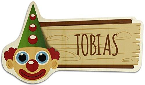 printplanet Türschild aus Holz mit Namen Tobias - Motiv Clown - Namensschild, Holzschild, Kinderzimmer-Schild