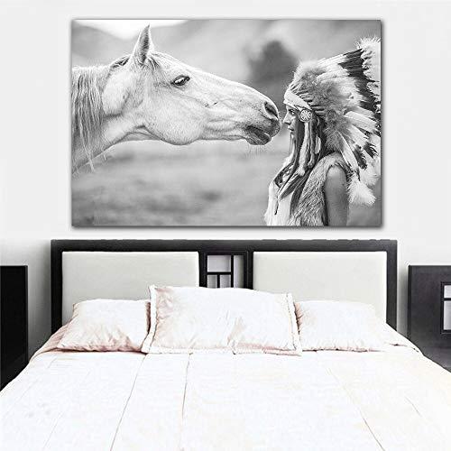 GoldLife Zwart WitPrint Foto Paard en Veer Vrouwen Canvas Schilderij Nordic DecoratieMuurposterGeen Frame60x90cm No fram