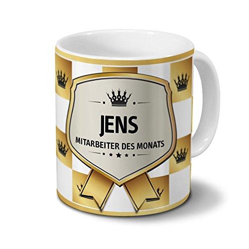 printplanet Tasse mit Namen Jens - Motiv Mitarbeiter des Monats - Namenstasse, Kaffeebecher, Mug, Becher, Kaffeetasse - Farbe Weiß